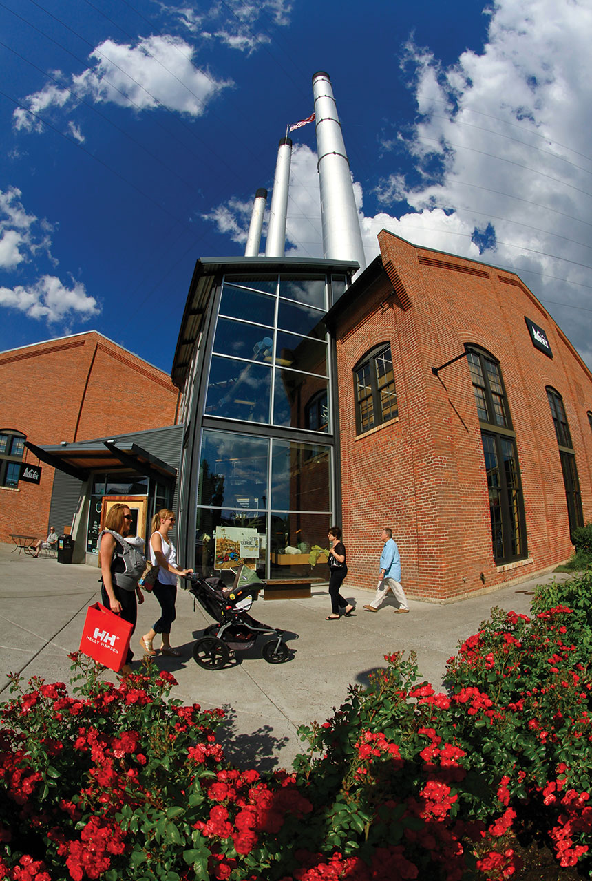 One of the area's oldest mills was repurposed into a shopping center. Photograph by Pete Alport