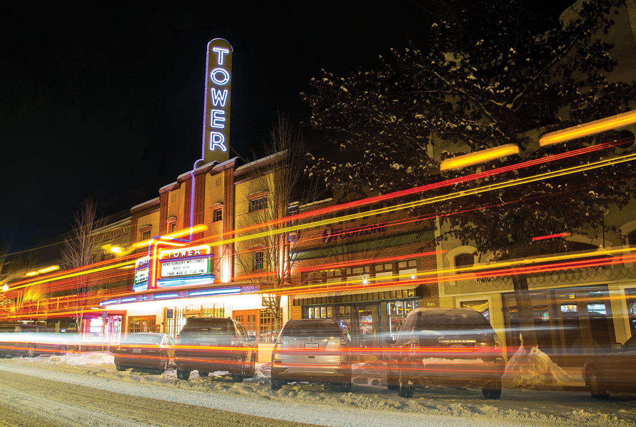 Built in 1940, downtown's Tower Theatre is Art Deco. Nate Wyeth