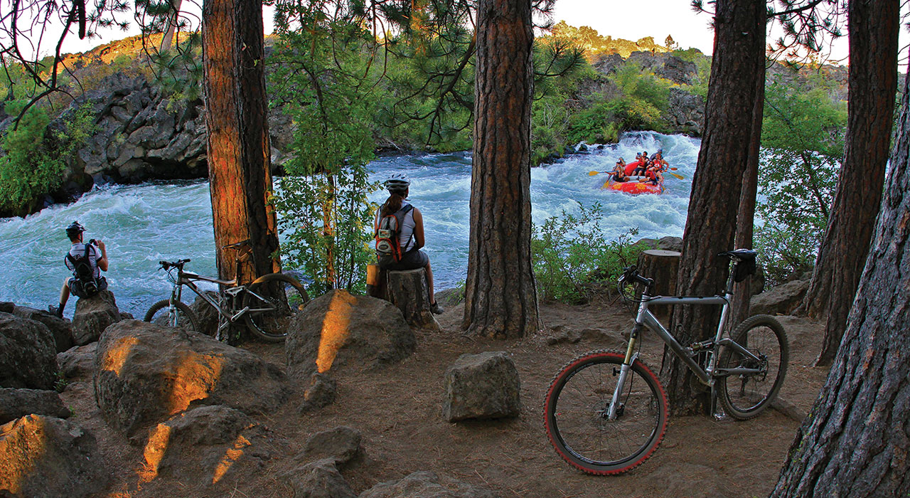 Sections of the Deschutes are flat, but there are also whitewater sections. Trails for hiking and biking, some of them paved, parallel much of the river in and around the town. Pete Alport