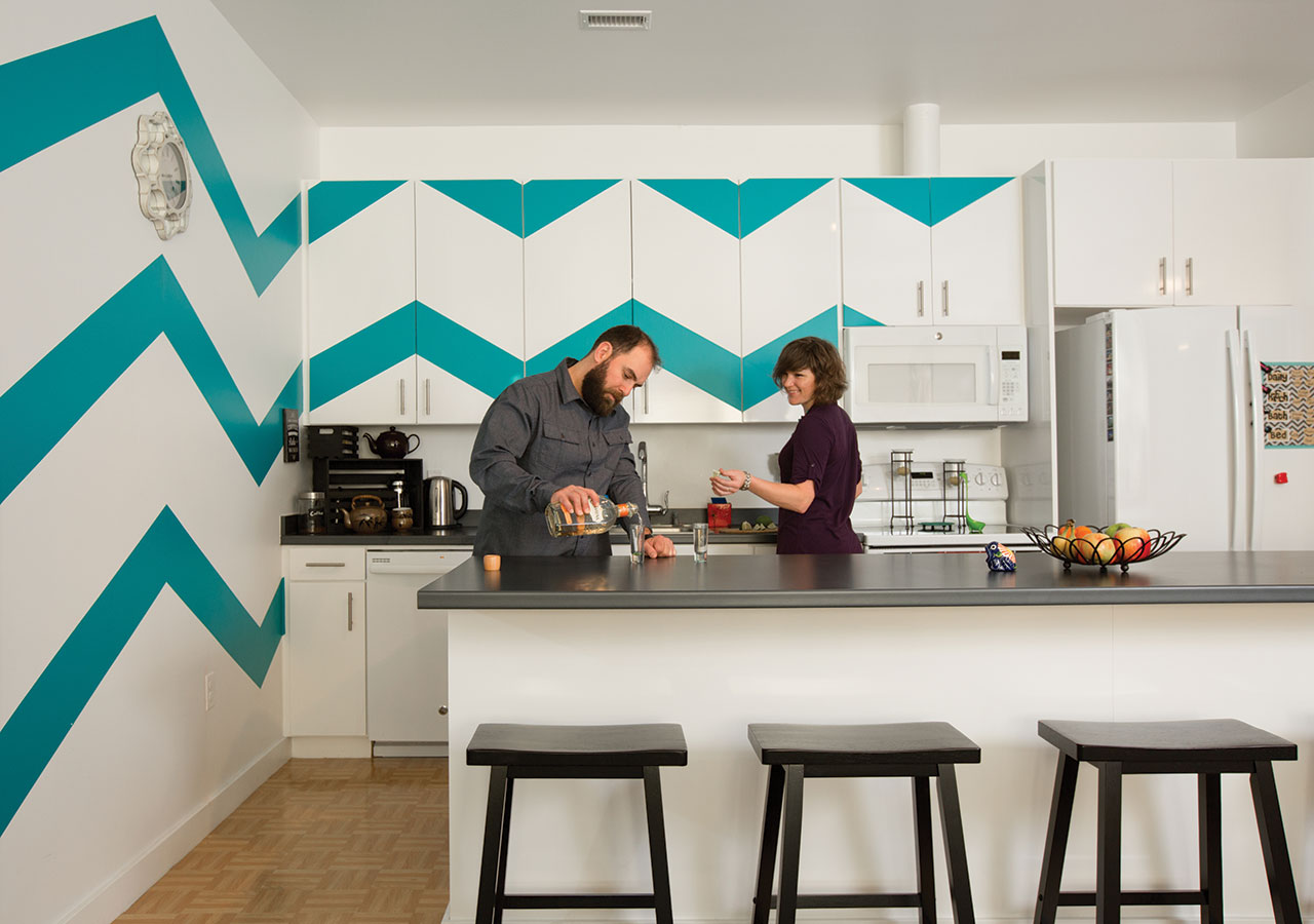 The Grove residents Stacie and Danny added color to their kitchen with stickers in a Chevron design. Stacie got the idea from Pinterest and found the stickers on wallsneedlove.com.