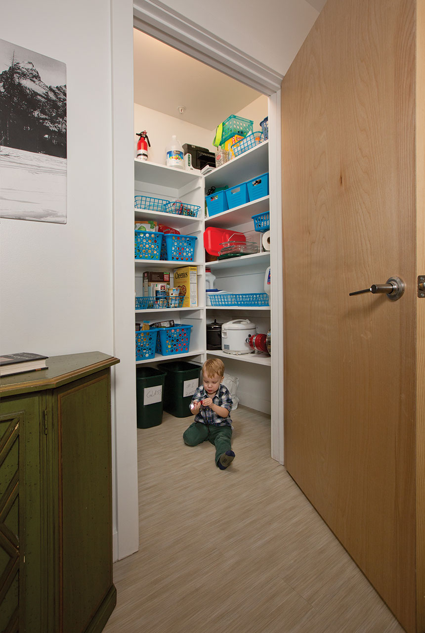 The couple's two-year-old son, Atticus, often turns the apartment's pantry into a playroom.